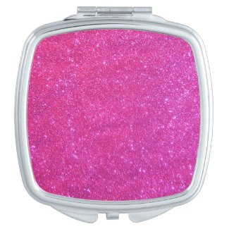 Compact Cosmetic Mirror Girlie Pink Sparkly Gift Vanity Mirror by CricketDiane