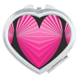 Cosmetic Mirror Bright Mod Art Pink Heart 7 Travel Mirrors by CricketDiane