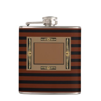 Black and Brown Stripe Pattern Dad's Flask 10b by CricketDiane