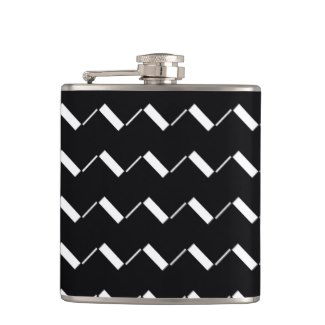 Black and White Pattern 50s Retro Flask 4 by CricketDiane