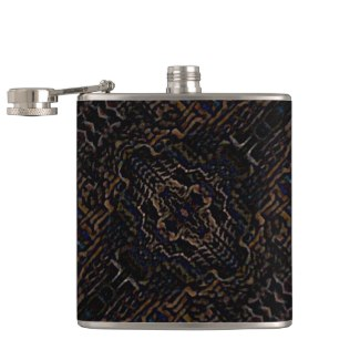 Black Grey Brown Navy Pattern Illusion Flask 7 by CricketDiane