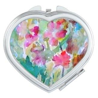 Cosmetic Mirror Watercolor Flowers Garden Floral 2 by CricketDiane