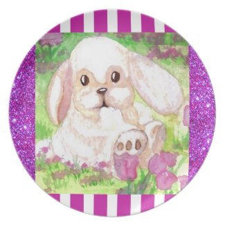 Cute Floppy Eared White Bunny Picnic Plate 4 by CricketDiane
