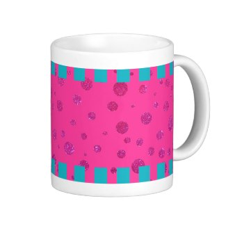 Cute Sparkle Pink Turquoise Happy Picnic Mug 6 by CricketDiane