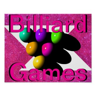 Billiard Poster 3 Pink Glitter by CricketDiane