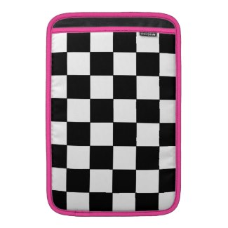 Black and White Checkerboard Retro Hipster MacBook Sleeve by CricketDiane