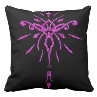 Black Pink Glitter Starburst Designer Pillow 2 by CricketDiane