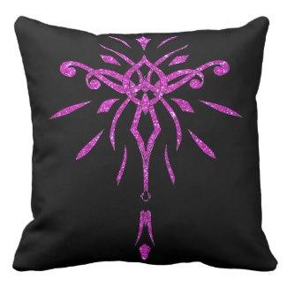 Black Pink Glitter Starburst Designer Pillow 2 by CricketDiane