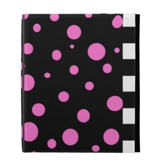 Black White Checkerboard Pink Black iPad Folio iPad Folio Covers by CricketDiane