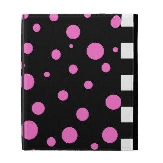 Black White Checkerboard Pink Black iPad Folio iPad Folio Covers by CricketDiane