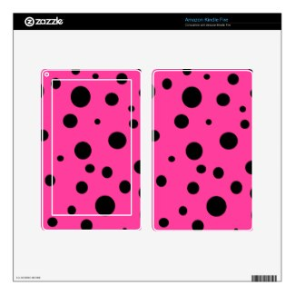 Hot Pink and Black Bubbles Polka Dots Fun Skins For Kindle Fire by CricketDiane