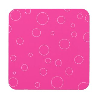 Hot Pink and Pink Bubbles Polka Dots Fun Beverage Coaster by CricketDiane