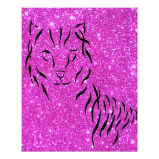 Hot Pink Sparkle Glittery CricketDiane Cat Art Custom Flyer by CricketDiane