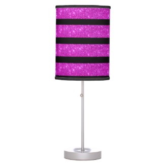 Hot Pink Sparkly Girly Glitter Black Stripe Light Lamps by CricketDiane