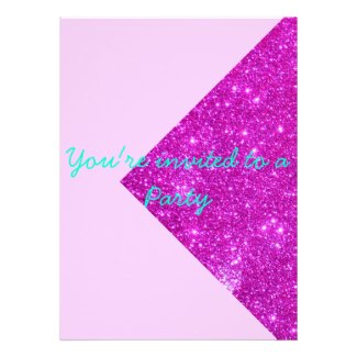 Invited to a Party Sparkle Pink Invitations 1 by CricketDiane
