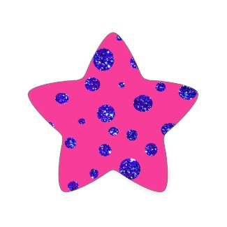 Pink and Purple Sparkle Polka Dots Fun Star Sticker by CricketDiane