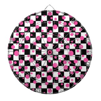 Pink & Checkerboard Wild Girlie Fashion Dartboard by CricketDiane