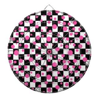 Pink & Checkerboard Wild Girlie Fashion Dartboard by CricketDiane