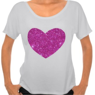 Pink Glittering Sparkle Heart Tshirt by CricketDiane
