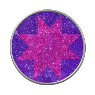 Pink Purple Star Sparkle Modern Art Candy Tin by CricketDiane