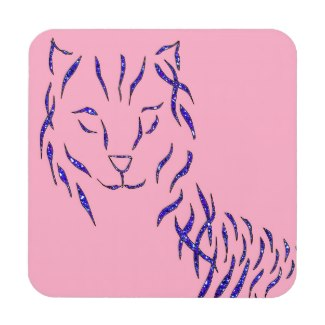 Pink w Purple Sparkle Cat Kitty Girly Girl Stuff Coasters by CricketDiane