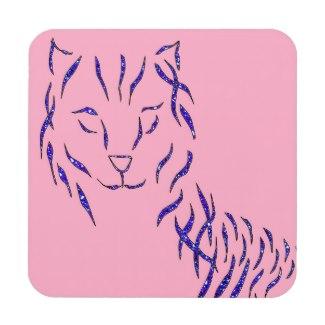 Pink w Purple Sparkle Cat Kitty Girly Girl Stuff Coasters by CricketDiane