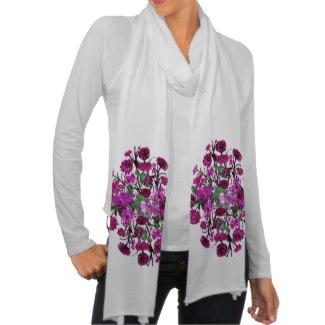 Pink Wine Pastel Flowers Feminine Fashion Scarf 2 by CricketDiane