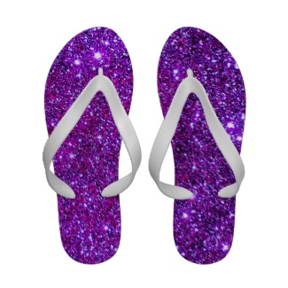 Purple Sparkle Glitter Glam Girly FlipFlops Sandal Sandals by CricketDiane