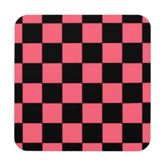 Salmon Pink and Black Squares Checkerboard Coaster by CricketDiane