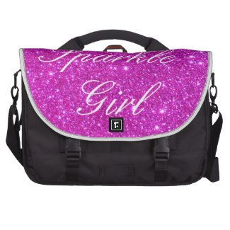 Sparkle Girl Pink Sparkly Glitter Messenger Bag Commuter Bags by CricketDiane