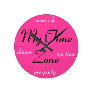 Very Very Pink Bright Pink My Time Zone Clock 3a by CricketDiane