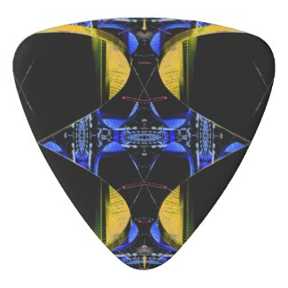 NYC Blue Fire Gold SciFi Rock n Roll Guitar Pick by CricketDiane