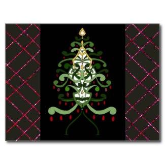 Christmas Art Postcard Christmas Tree Sparkle 3 by CricketDiane