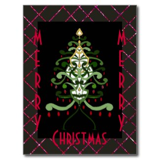 Christmas Art Postcard Christmas Tree Sparkle 4 by CricketDiane