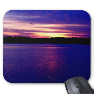 Blue Purple Lake Magical Sunset Pretty Peaceful Mousepads by CricketDiane