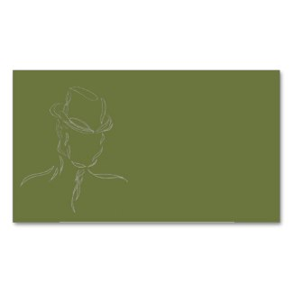 Business Cards Olive and Gray Man in a Hat 1 by CricketDiane
