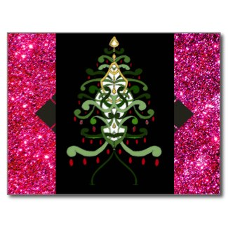 Christmas Art Postcard Christmas Tree Sparkle by CricketDiane
