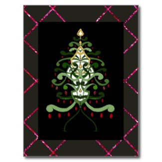 Christmas Art Postcard Christmas Tree Sparkle 2 by CricketDiane