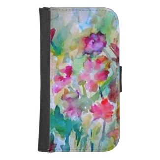 Flower Garden Watercolor Wallet Phone Case Galaxy S4 Wallet by CricketDiane
