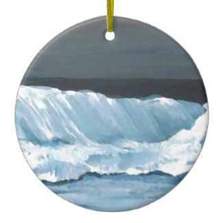 Ocean Dreams Sea Waves Night Moonlit Sea Christmas Ornaments by CricketDiane
