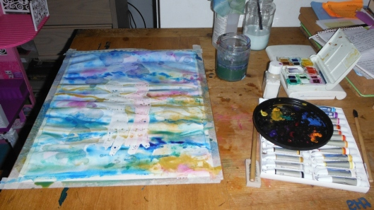 Studio painting watercolor - CricketDiane 2015