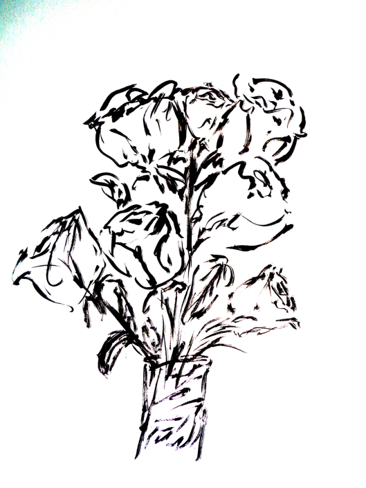 CricketDiane 2018 Roses Pen and Ink Drawing abstract DSC037033