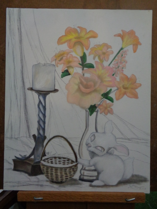 CricketDiane 2018 Still Life Oil Painting Floral with Bunny DSC04191 Unfinished